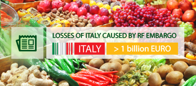Material losses of Italy caused by Russian embargo overpassed 1 billion Euro.